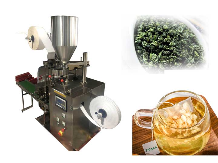 Dip tea bags with thread tag packing machine